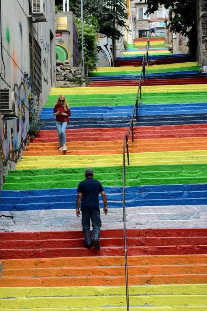 A staircase in Istanbul