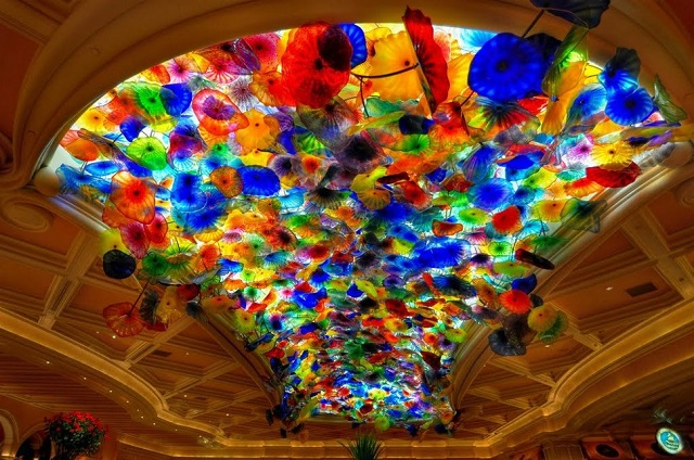 Glass ceiling by Chihuly at the Bellagio Hotel in Las Vegas