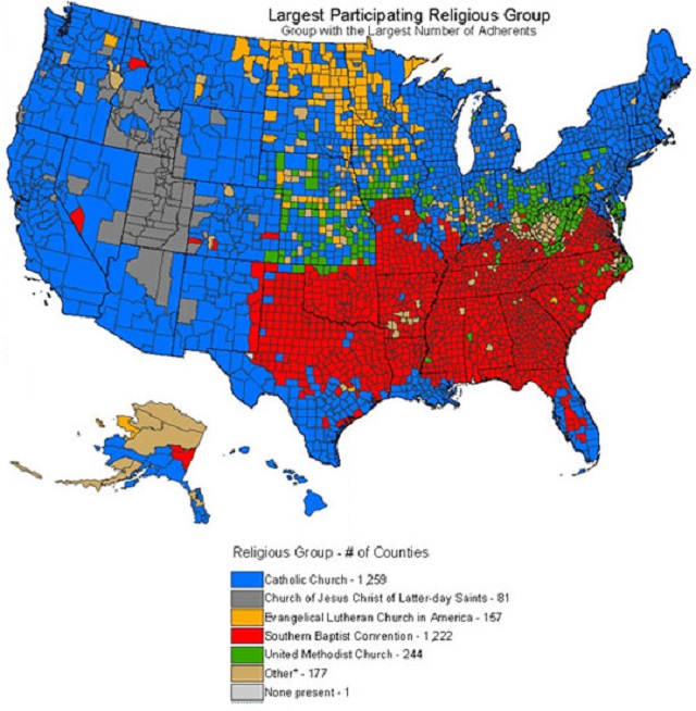 Map of US Religions