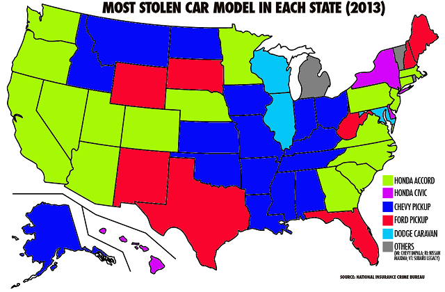 Most Stolen Car Model in Each State (2013
