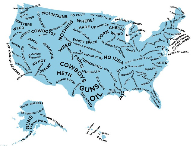 The stereotype map of the US according to British people