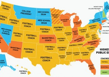 US Map of the Highest Paid Public Employees by State