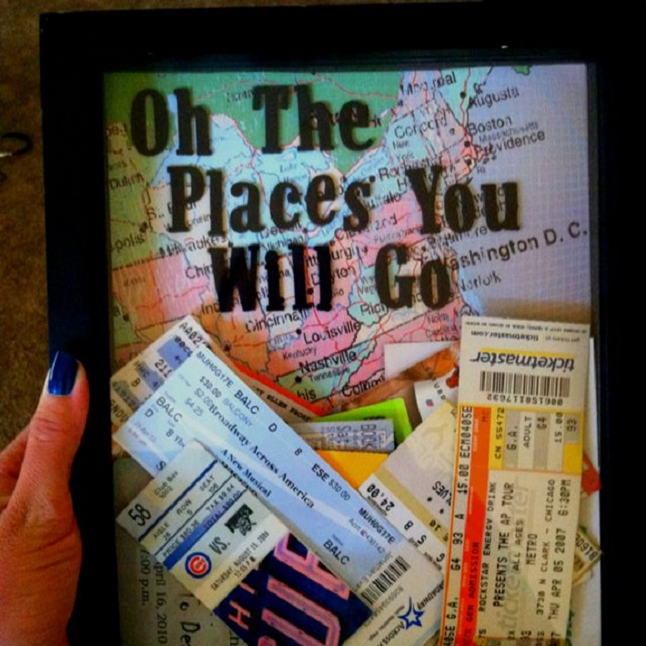 Framed tickets from trips