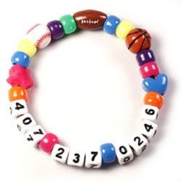 Moms cell phone number bracelet
