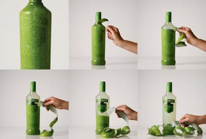 Smirnoff Caipiroska peelable bottle